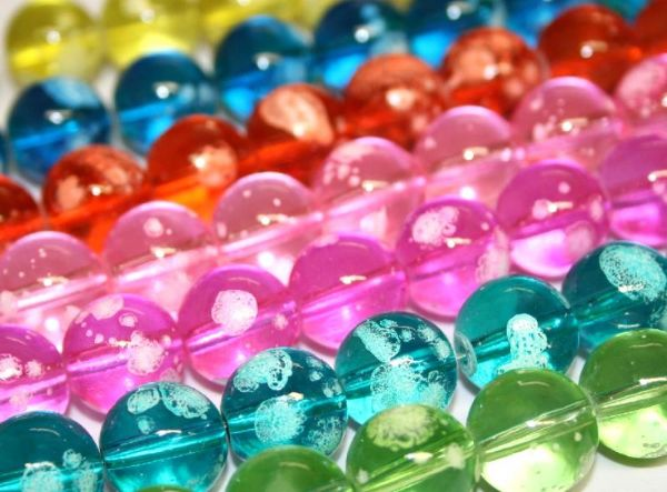 14mm Bubble gum glass beads